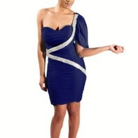 Net Spandex Slim-line Blue Sequin Bandage Short Dress 6 Colors,royal Blue,4