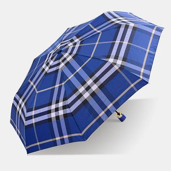 Fashion Unisex Creative Classic Grid Print Folding Women Men Umbrella Blue