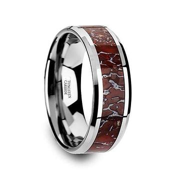 Tungsten Dinosaur Bone Wedding Ring Red Dinosaur Bone Inlay Beveled Edges 8mm