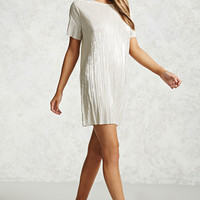 Metallic Pleated Shift Dress