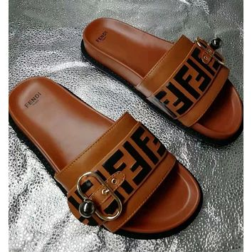 Brown FENDI Leather Slides Slipper Sandals Flats Shoes