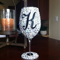 Bling Wine Glass w/ Initial