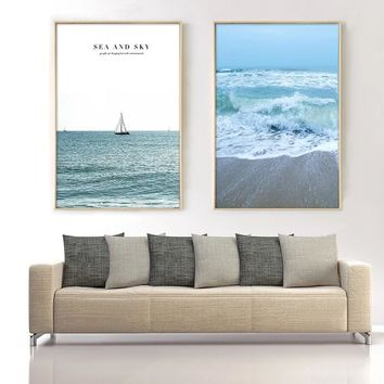 SURE LIFE Nordic Sea And Sky Beach Seascape Canvas Paintings Poster Wall Art Printings Pictures For Living Room Home Decorations