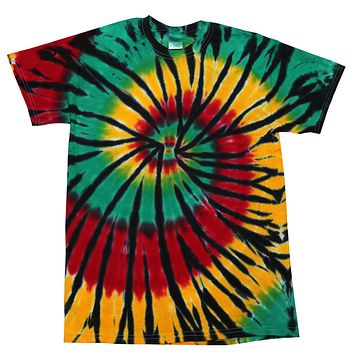 Tie Dye Multi Color Spiral Colorful Rasta Web T-Shirt