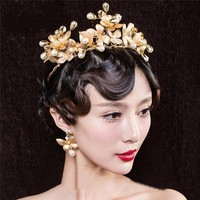 Gorgeous Retro Baroque Gold Leaf Butterfly Rhinestone Tiara Crown