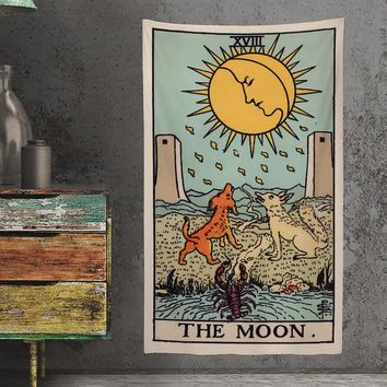 The Moon Tarot Card Tapestry - Full Card Tapestry - Rider Waite Deck Tapestry