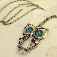 New Fashion Vintage Nice Charm Crystals Owl Pendant Long Chain Woman Necklace