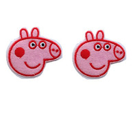 Peppa Pig Embroidered Iron/sew on Patch Cloth Applique Set of 2 (Peppa Pig)