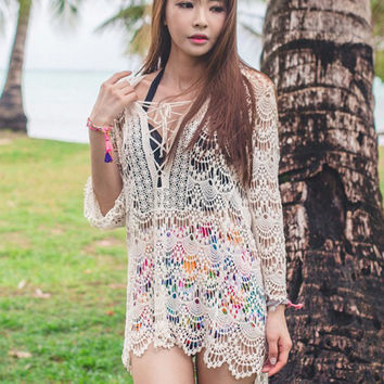 New! 2016 Hollow Out Lace Bikini Beach Cover Up Sexy Swimsuit Coverup Lace-up Beach Wear Pareo
