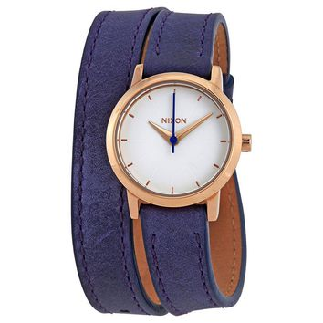 Nixon Kenzi Wrap White Dial Blue Leather Ladies Watch A4031675