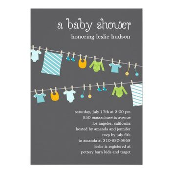 Chic Clothesline Baby Shower Invitation (Boy) from Zazzle.com