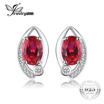 JewelryPalace Eye 2.3ct Created Red Ruby Stud Earrings 925 Sterling Silver Vintage Charm Brand Fashion Fine Jewelry
