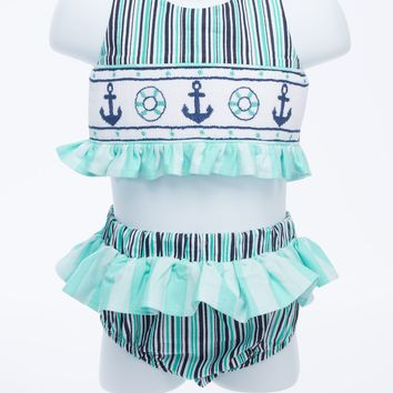 Summer Fun Anchor Smocked 2pc Swimsuit