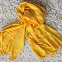 Mustard Yellow Pashmina /  Tasseled Infinity Scarf / Wedding Accessories / Women Accessories / Ready to Shipping / Shawl