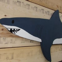 OOAK Large Reclaimed Wood Shark Wall Hanging. Wooden Shark. Beach Decor. Handmade. Made to Order