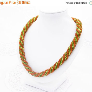 SALE Green orange  necklace  golden necklace bead croche trope necklace colored necklace rope necklace greek necklace