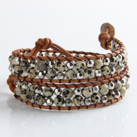 Quail Egg Stone Bead And Shimmering Silver Mix Wrap Bracelet