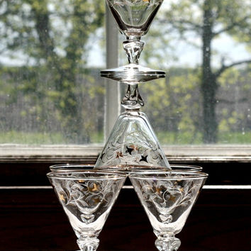 Set of 6 Vintage Cocktail - Martini - Champagne Glasses