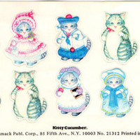 Rare Vintage Sheet Merrimack Embossed Kitty Cucumber Cat Stickers Dressed up