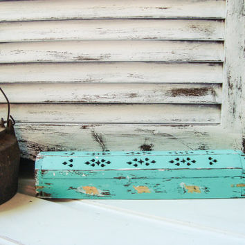 Teal Incense Burner W/ 100 bundle of Incense Sticks, Rustic Distressed Shabby Chic Cottage Chic Wooden Incense Storage Box