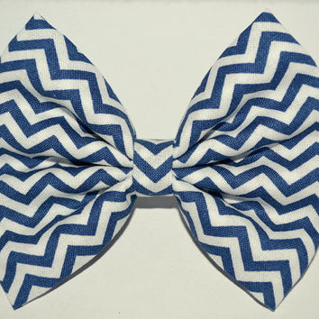 Navy Chevron Hair Bow