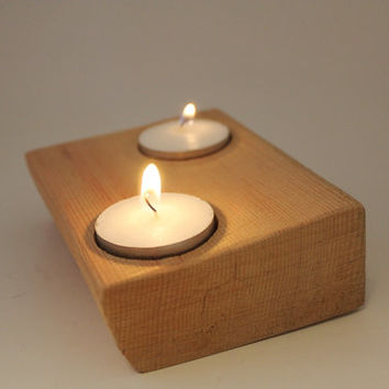 Candle Holder Wood - Rustic Candle Holder - Reclaimed Cedar Wood - Made in the USA