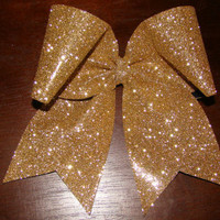 Gold Glitter Cheer Bow by isparklethat on Etsy