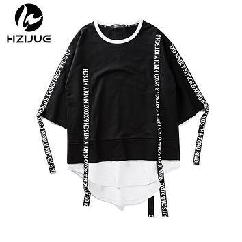 HZIJUE 2017 Summer Men Short Sleeve Extended Hip Hop T shirt Oversized Swag Clothes Men's Casual kanye west T Shirt ribbon tops