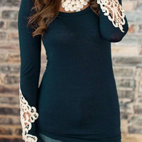 Long Sleeve Lace Detail T-Shirt