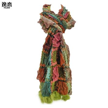 YiLiAN Brand 6 Colors Warm Winter Scarves New Arrival Women Plicated Colour Block Knitted Scarf with Rabbit Fur SF462