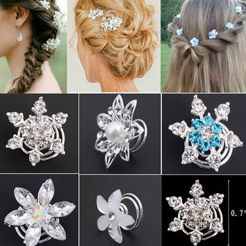 2017 Direct Selling Rushed Plant 6pcs Fashion Bridal Wedding Prom Crystal Flower Hair Pins Swirl Spiral Twist Jewelry Free Ship