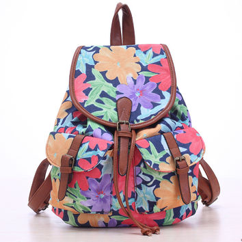 Purple Flower Travel Bag Canvas Lightweight Backpack