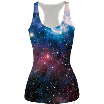 womens galaxy slim tank top casual sports vest for summer free shipping  number 1