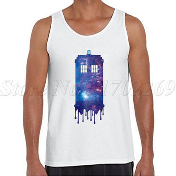 Galaxy Tardis Men tank tops fashion Galaxy Police box printed Doctor who Vest hipster funny cool singlets
