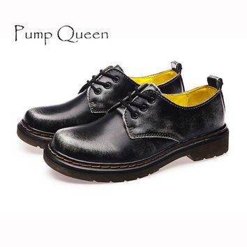 British Style Genuine Leather Oxfords For Women Martin Ankle Shoes Female Spring Autum