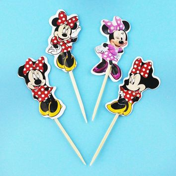 24pcs Cartoon Minnie Mouse Dancing Cupcake Toppers pick Kids Birthday Party Supplies wedding cake flag Decorations girl gift New