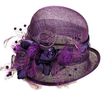 Kentucky Derby Church Wedding Tea Party Short Brim Flower Mesh Dressy Sinamay Hat - Purple