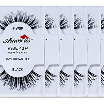 Amorus 100% Human Hair False Eyelashes #wsp (6 Pack) Compare Red Cherry