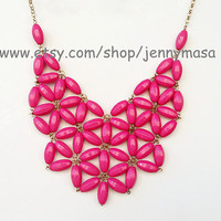 Sale -Fuchsia - Daisy Necklace , Tessellate Necklace, Bubble Bib statement necklace, Party Necklace, wedding necklace
