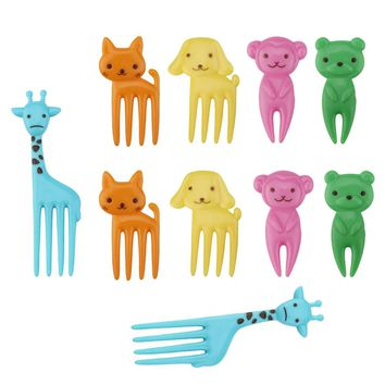 10 pcs Animal Child Fruit Fork Eco Friendly Plastic Easy Decoration Kitchen Bar Kids Dessert Forks Tableware Holder For Party