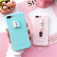 small fresh milk bottles coffee cup case for iPhone 7 7plus Japan and Korea case for iphone 6 6S Plus 6Plus capa fundas Hard