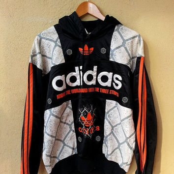 ON SALE Vintage ADIDAS Run Dmc Big Logo WorldBrand Sweater Hooded Hip Hop Sweatshirt Jacket Swag 90's