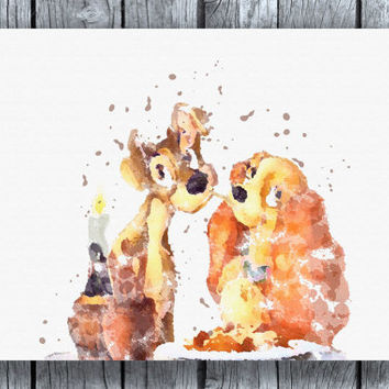 Lady and the Tramp Disney Watercolor Art Print Instant Download