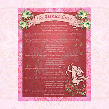 ATTRACT LOVE,  Digital Download, Valentine's Day , Love Spell, Book of Shadows Page, Grimoire, Scrapbook, Spells