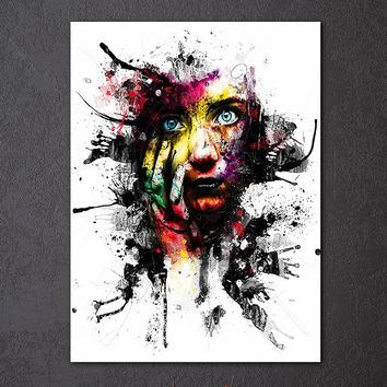 1 Piece Panel Art on Canvas  Abstract Woman Face Splash Print