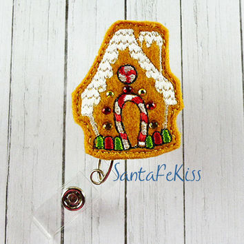 Christmas Gingerbread House with Rhinestones Felt Badge Holder with Retractable Badge Reel. A great gift for your favorite nurse, coworker