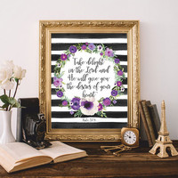 Bible verse art Bible quote Bible wall art Scripture print art Take delight in the Lord Psalm 37:4 Printable Watercolor 8x10 Digital file