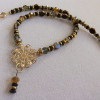 Upcycled Black and Gold Necklace
