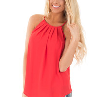 Poinsettia Red Pleated Halter Tank