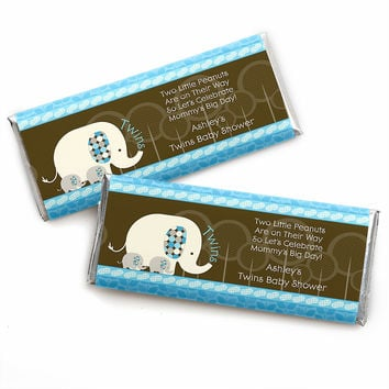 Twin Blue Baby Elephants - Personalized Baby Shower Candy Bar Wrapper Favors